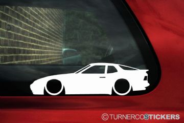 2X Lowered Porsche 944 S, S2 low classic car outline STICKERS decal